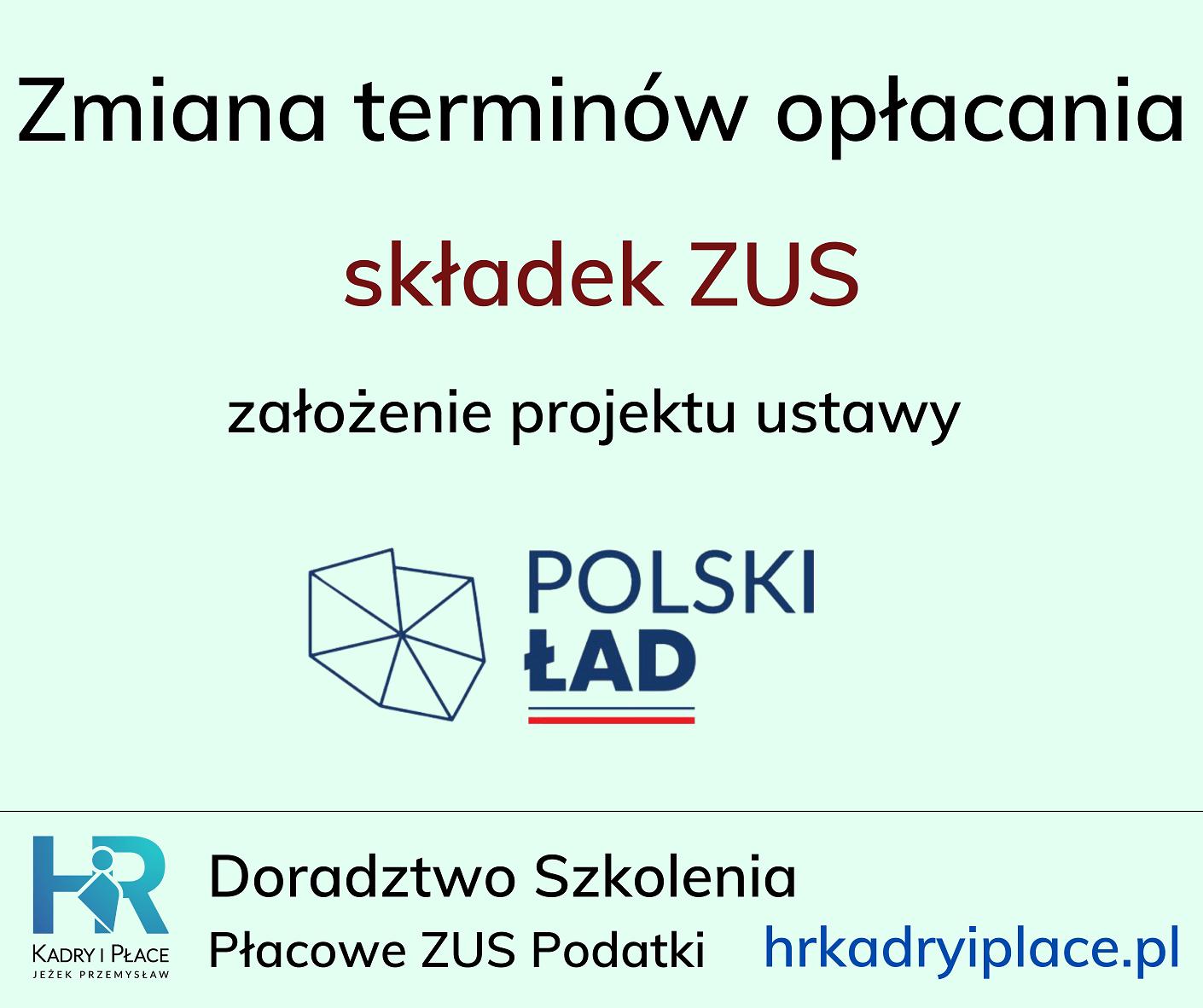 terminy zaplaty skladek zus polski lad